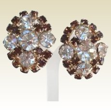 Bold Vintage Smoked Topaz & Clear Rhinestone Earrings Gold Tone