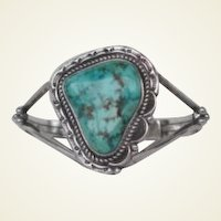 Vintage Native American Bracelet Very Large Free-Form Turquoise Stone Sterling Silver