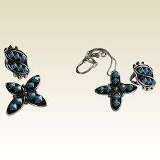 Unusual Vintage Native American Pyramid Cut Turquoise Cross Set Ring & Brooch Sterling