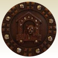 Antique Bulldog & Dog House Brooch Pin Bronze with Marcasite