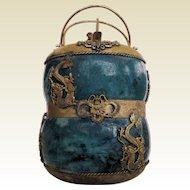 Unique Vintage Chinese Teapot Dragons Butterflies Monkey Ceramic Brass