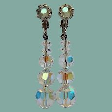 Vintage 1950's Austrian AB Crystal Dangling Earrings Hollywood Glamour