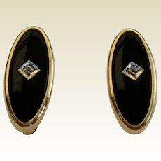 Vintage Art Deco Style Cuff Links Simulated Black Onyx G.F. Signed