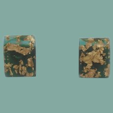 Dramatic Confetti Lucite Earrings Embedded Gold on Green
