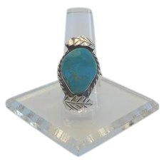 Vintage Native American Morenci Turquoise Ring Sterling Silver Overlays