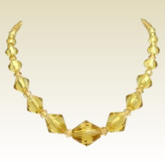 Enchanting Vintage Light Yellow Citrine Crystal Necklace