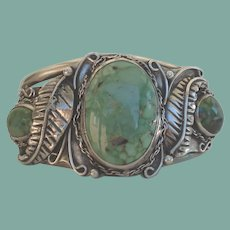 Magnificent 1950's Native American Navajo Bracelet Green Spider Web Turquoise Sterling Silver Signed