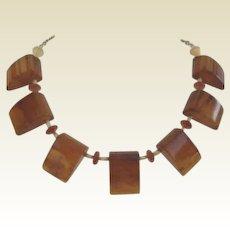 Vintage Bakelite Honey Amber Butterscotch Necklace Adjustable Gold Filled