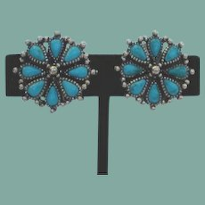 Vintage Native American Style Simulated Turquoise Earrings