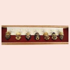 Rare Antique Japanese Netsuke Buttons 7 Deities of Good Luck Original Box & Paper