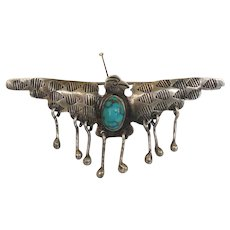 Early Vintage Native American Thunderbird Turquoise Brooch Pin With Dangles