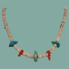 Vintage Native American Pueblo Necklace Turquoise Coral Sterling Shell Heishi Beads