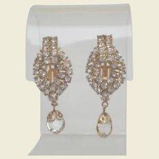 Vintage Rhinestone Crystal Dangle Earrings Hollywood Glamour