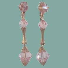 Long Vintage 1950's PINK AB Crystal Chandelier Dangling Earrings