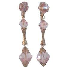 Long Vintage 1950's PINK AB Crystal Chandelier Dangling Earrings