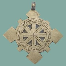 Rare Antique Sterling Native American Four Directional Cross Pendant