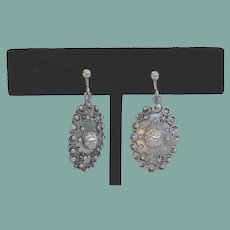 Exquisite Vintage Sterling Silver Earrings Ornate Overlays Free Conversion