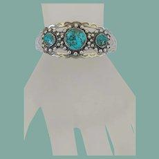 Vintage Native American Bracelet 3 Bisbee Turquoise Stones in Line Navajo Sterling