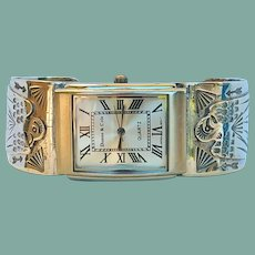 Rare Vintage Native American Cuff Watch Bracelet Sterling Eagles Rolling Logs