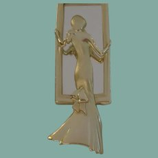 Whimsical Vintage AJG Women in The Looking Glass Mirror Brooch Pin