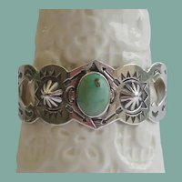 Unique Vintage 1920's Native American Green Turquoise Bracelet Sterling Repousse Rolling Logs Navajo