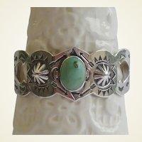 Unique Vintage 1920's Native American Green Turquoise Bracelet Sterling Repousse Rolling Logs Navajo