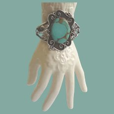 Native American Large Turquoise Bracelet Sterling Silver Ornate Floral Design Signed