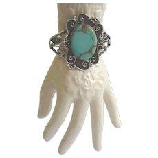 Native American Large Turquoise Bracelet Sterling Silver Ornate Floral Design Signed