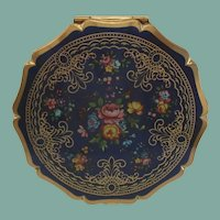Vintage STRATTON England Compact Cobalt Blue Background Flower Garden