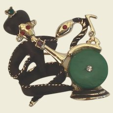 Whimsical Vintage Snake Charmer Figural Brooch Sultan Pants Musical Notes Flute Jewels Rhinestones