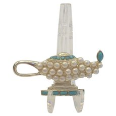 Vintage Aladdin's Lamp Brooch Pin Simulated Pearls & Glass Turquoise