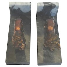Antique Lion Bookends Marble Metal Desk or Library Accessory