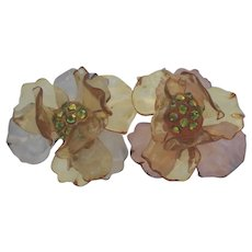 Unique Vintage Acetate Plastic Earrings Translucent Flowers Surprise Rhinestones