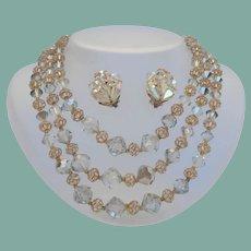 Extravagantly Elegant Vintage 3-Stand AB Crystal Set Gold Flower Filigree End Caps