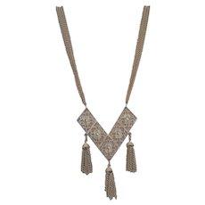 Golden Vintage Pendant Necklace Tassels Dangles Unique Designer Signed
