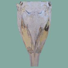Tall Antique Victorian Silver Mercury Glass Vase Art Nouveau Design Etched Florals Scallop Edge Compote