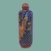 Vintage Chinese Cloisonné Snuff Bottle Golden Peacock Vibrant Florals Original Spoon