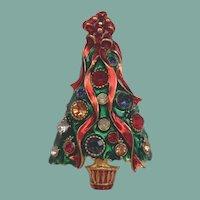 Vintage Designer Christmas Tree Brooch Lavish Enamels Rhinestones Signed