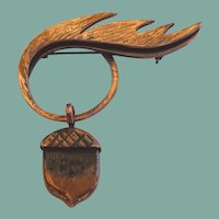 RARE Vintage Hand Wrought Rebajes Copper Leaf Dangling Acorn Brooch Pin Signed