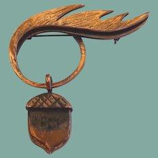 RARE Vintage Hand Wrought Rebajes Copper Leaf Dangling Acorn Brooch Pin Signed