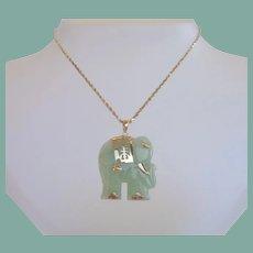 Vintage 14KT Gold Carved Asian Jade Elephant Pendant Necklace