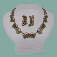 Vintage Matisse Copper Green Enamel Butterfly Set Necklace  Earrings Signed