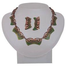 Vintage Matisse Copper Green Enamel Butterfly Set Necklace  Earrings Signed