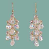 Long Vintage Pierced AB Crystal Chandelier Dangling Earrings Hollywood Glamour