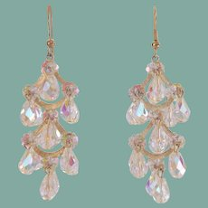 Long Vintage Pierced AB Crystal Chandelier Dangling Earrings Hollywood Glamour