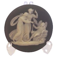 Antique 1850's Early Victorian Dark Black Wedgwood Cameo Cupid Signed Unframed