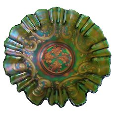 Vintage Carnival Glass Ruffled Edge Bowl Art Nouveau Design Teal Emerald