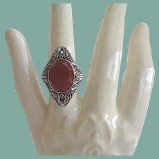 Elegant Antique Art Nouveau Carnelian Marcasite Ring Sterling Silver Marked