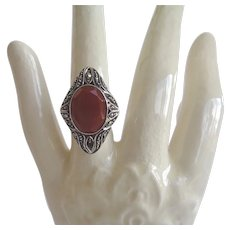 Elegant Antique Art Nouveau Carnelian Marcasite Ring Sterling Silver Marked