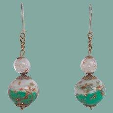 GORGEOUS Venetian Art Glass Aventurine Bead Earrings Dangles Pierced Sparkle Galore